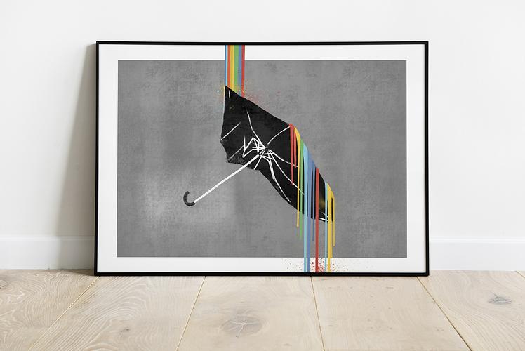 paraply hvit vegg